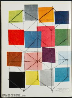 Color block art by the Eames to act as inspiration to create a paper installation in the cigar lounge and behind the dessert table.