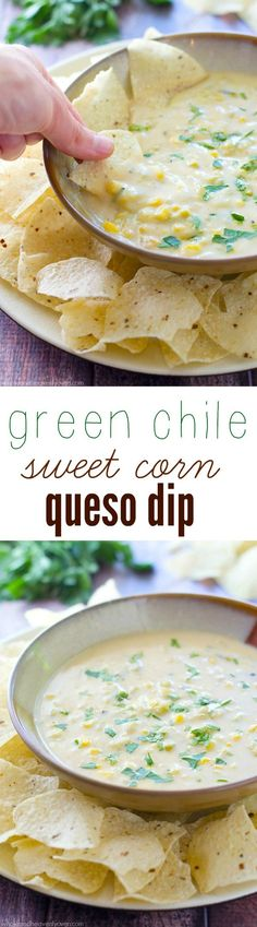 Loaded with lots of sweet corn and zippy roasted green chiles, this hot cheesy queso dip is nearly impossible to stop eating!
