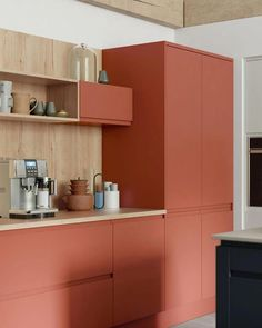 7 bold and beautiful colour ideas for a modern kitchen CORAL KITCHEN Kitchen Paint, Home Decor Kitchen, Kitchen Furniture, Kitchen Ideas, Pink Kitchen Cabinets, Plywood Kitchen, Kitchen Decorations, Kitchen Cupboard, Red Kitchen