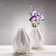 Geometric vase White ceramic Origami inspired by StudioArmadillo, $74.00