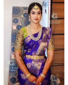 wedding saree, wedding blouse designs, contrast blouse ideas Indian Gowns Dresses, Indian Designer Outfits, All Family, Saree Wedding, Blouse Designs, Bridal, How To Wear, Brides, Jersey Designs