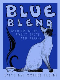 Latte Da Siamese Blue Blend Coffee Poster by jilliannickell Siamese Cats, Cats And Kittens, Ragdoll Kittens, Funny Kittens, Bengal Cats, White Kittens, Adorable Kittens, Kitty Cats, Tabby Cats