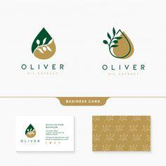 Olive oil logo design with business card template Premium Vector Food Brand Logos, Logo Food, Logo Design Tutorial, Design Tutorials, Photography Packaging, Brand Identity Design, Branding Design, Food Logo Design, Corporate Design
