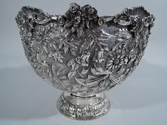 Kirk Bowl - Antique Baltimore Floral Repousse - American Sterling Silver #Kirk