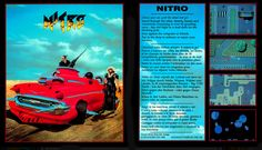 """Nitro is a top-down perspective racing video game for the Amiga and Atari ST. It was developed by Psygnosis and published in 1990.  This game contains no clear background or storyline, just white-knuckle video game racing. After choosing whether to play with one, two or three (via keyboard) players, the player(s) must select a car and buy accessories at the """"pit stop"""" before proceeding to the race. Three vehicles are available; namely the racing car, sports car, and turbo buggy. 90s Video Games, Race Day, Gaming Computer, Keyboard, Perspective, Racing, Play, Vehicles, Sports"""