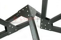 Build Carbon Fiber trusses and space frame structures with our square tubes and flat gussets