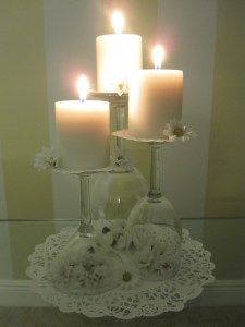 DIY candle holders..... cute for romantic dinner or wedding reception
