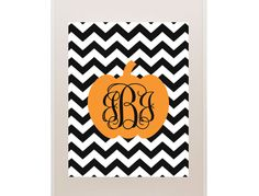 Free printable pumpkin monogram.  Just type in initials, choose color and print.  Would be cute to frame one for teacher gifts for their door or desk!