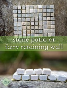 Use tiny tiles for mosaic to make retaining wall or a patio in miniature dollhouse or fairy garden