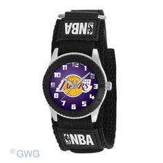 Los Angeles Lakers Game Time NBA Rookie Black Nylon Cuff Juniors Unisex Watch | Game Time | AJ Raefields Vintage Jewelry
