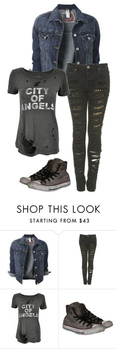 """""""Untitled #592"""" by pandoraslittlebox ❤ liked on Polyvore featuring moda, Chaser y Converse"""