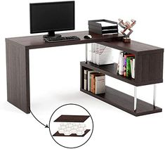 Straight//L-Shape Corner Table Home Study Office Desk Computer With Shelves Weels