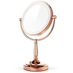 Beautiful rose gold makeup mirror. Add a touch of elegance to vanity area. rose gold room decor ideas.