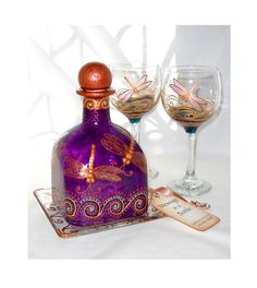 Dragonfy Decanter Set Hand Painted Glass Art Painted Glassware Set