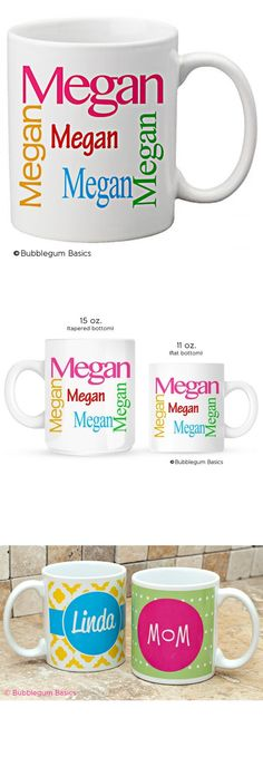 Name Monogram #Coffee #Mug--->>by Bubblegum Basics™.  Wherever you like to drink, do it in style with this eye-catching personalized coffee mug!  The wrap around design means your personalization is printed on both sides of the mug and visible from every angle. --->>Our unique printing process ensures that the design is permanently sealed within the ceramic and long lasting.----AVAILABLE in 11 oz. (flat bottom) and 15 oz. (tapered bottom).