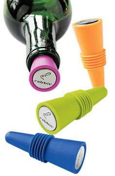 Colorful rubber wine bottle stoppers that won't leak in the fridge when you lay them sideways!