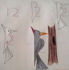 Learn to draw the children. The greatest drawings that start with numbers … - Painting & Drawing Art Drawings For Kids, Bird Drawings, Drawing For Kids, Animal Drawings, Easy Drawings, Art For Kids, Drawing Ideas, Drawing Birds, Drawing Lessons