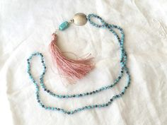 Long Tassel Necklace.  Turquoise blue beaded boho necklace.  Blue and Pink bohemian. by ReyesRobledo on Etsy