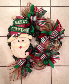 Merry Christmas Santa deco mesh wreath