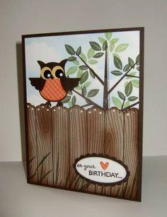 Two-Step Owl on woodgrain fence with season of friendship tree