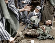 Rescued inmates at nazi concentration camp Wobbelin, 1945 near Ludwigslust.