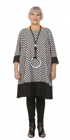 Hebbeding Black and White Check Tunic-Dress