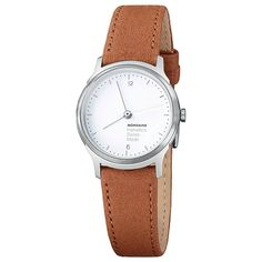 Buy Mondaine MH1L1110LG Unisex Helvetica Leather Strap Watch, Brown/White Online at johnlewis.com