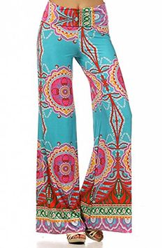 ICONOFLASH Womens Wide Leg Palazzo Pants Blue Temptation Small -- Want additional info? Click on the image.