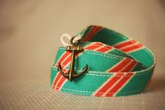 Awesome vintage bracelet from preppy repp styled cotton fabric with an old old anchor. https://www.facebook.com/MRNSKU