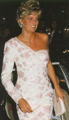 """September 19, 1991: Princess Diana at the """"Stepping Out"""" Premiere in London. Diana wore this Catherine Walker off-the-shoulder pink and white gown first in Brazil April 23, 1991, with a tiara."""