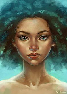 Elena Berezina {figurative art beautiful female head #naturalhair woman face portrait digital painting #loveart} sharandula.deviantart.com