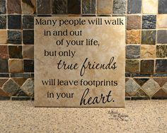 12x12 True Friends leave footprints in your heart, Girlfriend Gift, Friendship Gift, Going Away Gift, Gift for friend - pinned by pin4etsy.com