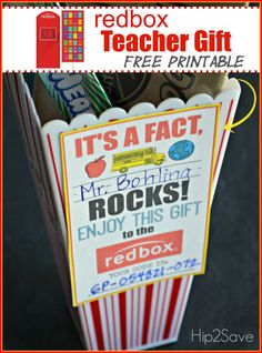 Teacher appreciation gift idea: gift a redbox code (free printable card) male teacher Male Teacher Gifts, Teacher Christmas Gifts, Male Teachers, Holiday Gifts, Redbox Promo Codes, Teacher Images, Bus Driver Gifts, Free Printable Cards, Free Printables