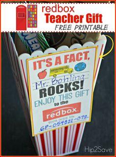 809f786929b1a Teacher Appreciation Gift Idea  Gift a Redbox Code (Free Printable Card). Male  Teacher GiftsTeacher Thank YouMale ...