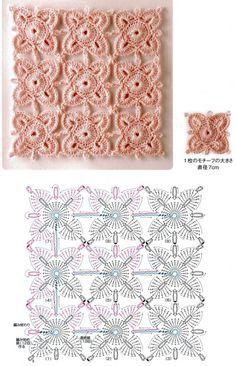 Beautiful square motifs!  El esquema de ganchillo sin separar
