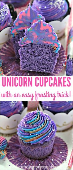 Unicorn Cupcakes are astonishingly pretty, delicious and also easy to make. Perfect for themed parties, these are meant to be a hit with everyone. Purple Cupcakes, Cupcakes For Girls, Unicorn Cupcakes Cake, Oreo Cupcakes, Birthday Desserts, Birthday Cupcakes, Party Cupcakes, Mini Cakes, Sweets