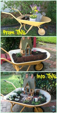 DIY Wheel Barrow Miniature Primitive Garden Instruction - DIY WheelBarrow Miniature #Garden Projects