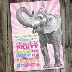 Happy Vintage Elephant Birthday, Elephant Birthday Invitation, PRINTABLE, Pink Elephant Birthday, Circus Invitation, Circus Party by partymonkey on Etsy https://www.etsy.com/listing/111239738/happy-vintage-elephant-birthday-elephant