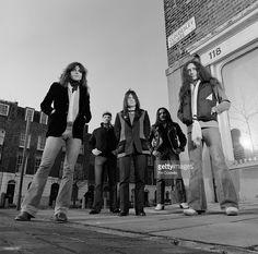 English rock band Uriah Heep posed in Islington, North London in November 1979. Left to right: singer John Sloman, drummer Chris Slade, bassist Trevor Bolder, guitarist Mick Box and keyboard player Ken Hensley.