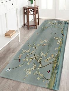 Flowers and Birds Print Skidproof Flannel Bath Rug - GREYISH GREEN W24 INCH * L71 INCH