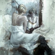 ♥ 'The mirror in white' | #oil_painting | © Jeremy Mann