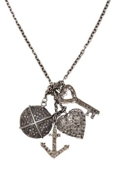 Pave Diamond Multi-Charm Necklace