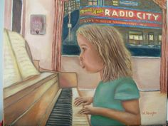 """I call this painting """"Beginnings,"""" as the piano student dreams of the outcomes as depicted through the window."""