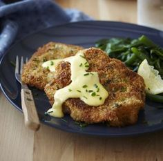 Crumbed beef schnitzel with creamy Parmesan sauce - ChelseaWinter.co.nz