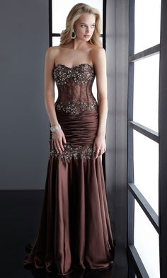 Long strapless corset dress