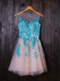 Buy A-line Scoop Applique Short Tulle Sleeveless Prom/Homecoming Dress with Blue Appliques 2016 Homecoming Dresses under US$ 149.99 only in SimpleDress.