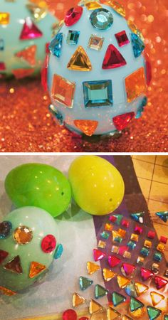 Easy Rhinestone Easter Eggs | Click Pic for 20 DIY Easter Egg Decorating Ideas for Kids | Easy Easter Egg Crafts for Toddlers