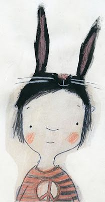 I love this child with a harecap on its head. Picture made by Manon Gauthier, http://manongauthierillustrations.blogspot.nl/