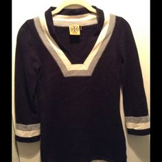 Tory Burch tunic sweater Navy blue wool tunic style sweater. Great condition!! Tory Burch Sweaters V-Necks