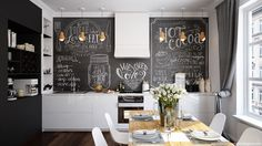 black board backsplash kitchen